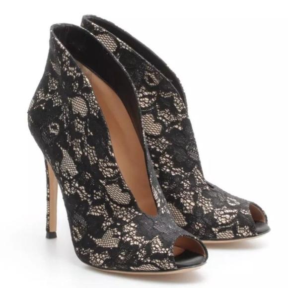 e9a835e101 Gianvito Rossi Shoes | Lace Vneck Peep Toe Bootie Pumps | Poshmark